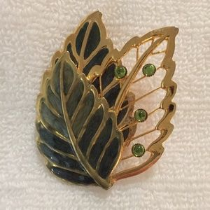 Vintage gold tone and green leaf pin